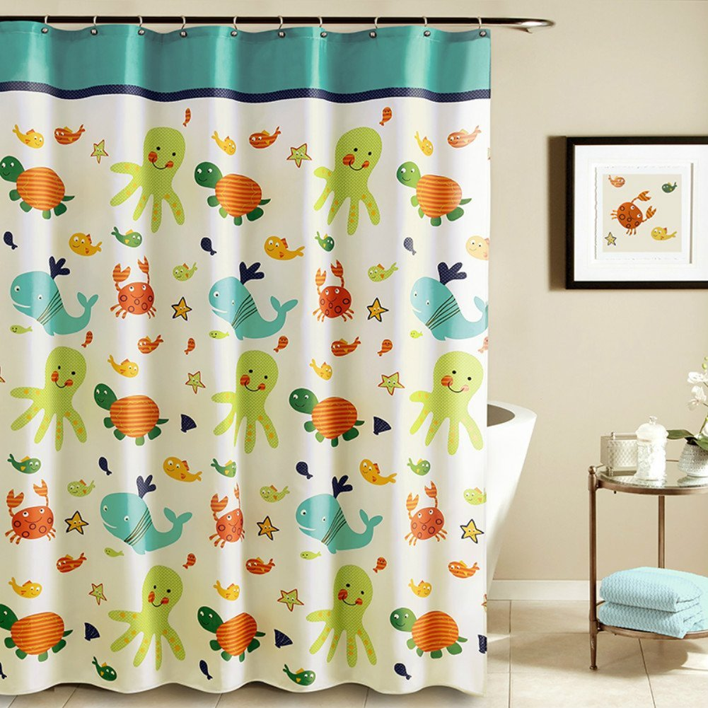 Tayyakoushi Funny Kids Shower Curtain Cartoon Nautical Tropical Underwater Polyester liner with Octopus Starfish Shells Babies Girl Nursery Bath Mildew Resistant Waterproof 72x72 inches