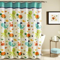 tayyakoushi funny kids shower curtain cartoon nautical tropical underwater polyester liner with octopus starfish shells babies - Kids Shower Curtain