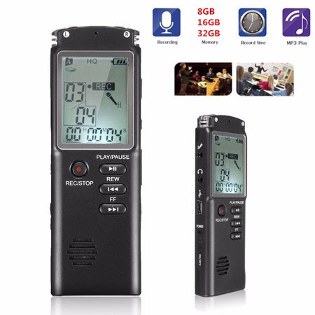 Compumatic Time Recorders - Professional Digital Voice Recorder 16GB Sound Audio Recorder Time Display USB Built-in Microphone MP3 Player (Black)
