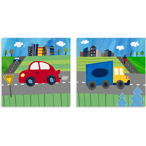 Oopsy Daisy Too Transportation Blue Truck/Red Car Canvas Wall Art Set of  sc 1 st  Walmart & Oopsy Daisy Too Transportation Blue Truck/Red Car Canvas Wall Art ...