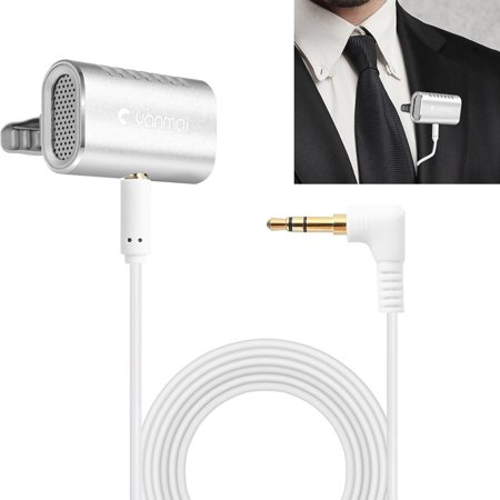 AMZER Recording Clip-on Lapel Mic Lavalier Omni-directional Double Condenser Microphone, Compatible with PC/iPad/Android and others, for Live Broadcast, Show, KTV, etc