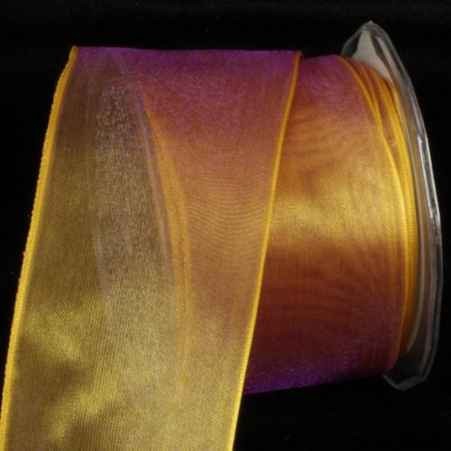 "Crystal Organdy Brown Wheat Wired Craft Ribbon 2"" x 27 Yards"