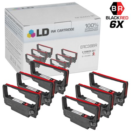 - LD Epson Compatible Replacement 6 Pack Black and Red POS Ribbon Cartridges - ERC38BR