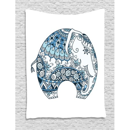 Elephant Mandala Tapestry  Indian Belief Guardian Spirit Of Temples Animal Mehndi Image  Wall Hanging For Bedroom Living Room Dorm Decor  40W X 60L Inches  Turquoise Blue And White  By Ambesonne