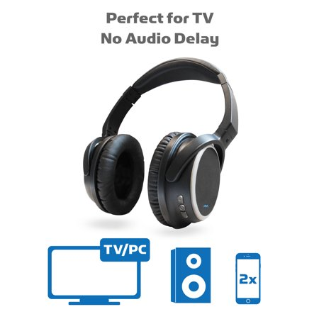 Miccus TV Bluetooth Wireless Headphones Over Ear, Listen in HD NO DELAY, aptx Low Latency, Noise Isolating Headset with Mic for Phone Computer PC Gaming Mowing Airplane Travel Foldable (SR-71
