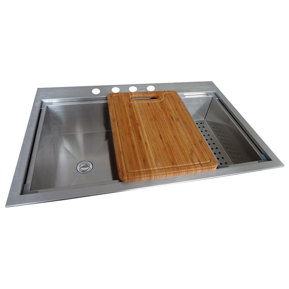 Glacier Bay Dual Mount Stainless Steel 33 In 4 Hole Kitchen Sink In Satin Qk053 Walmart Com Walmart Com