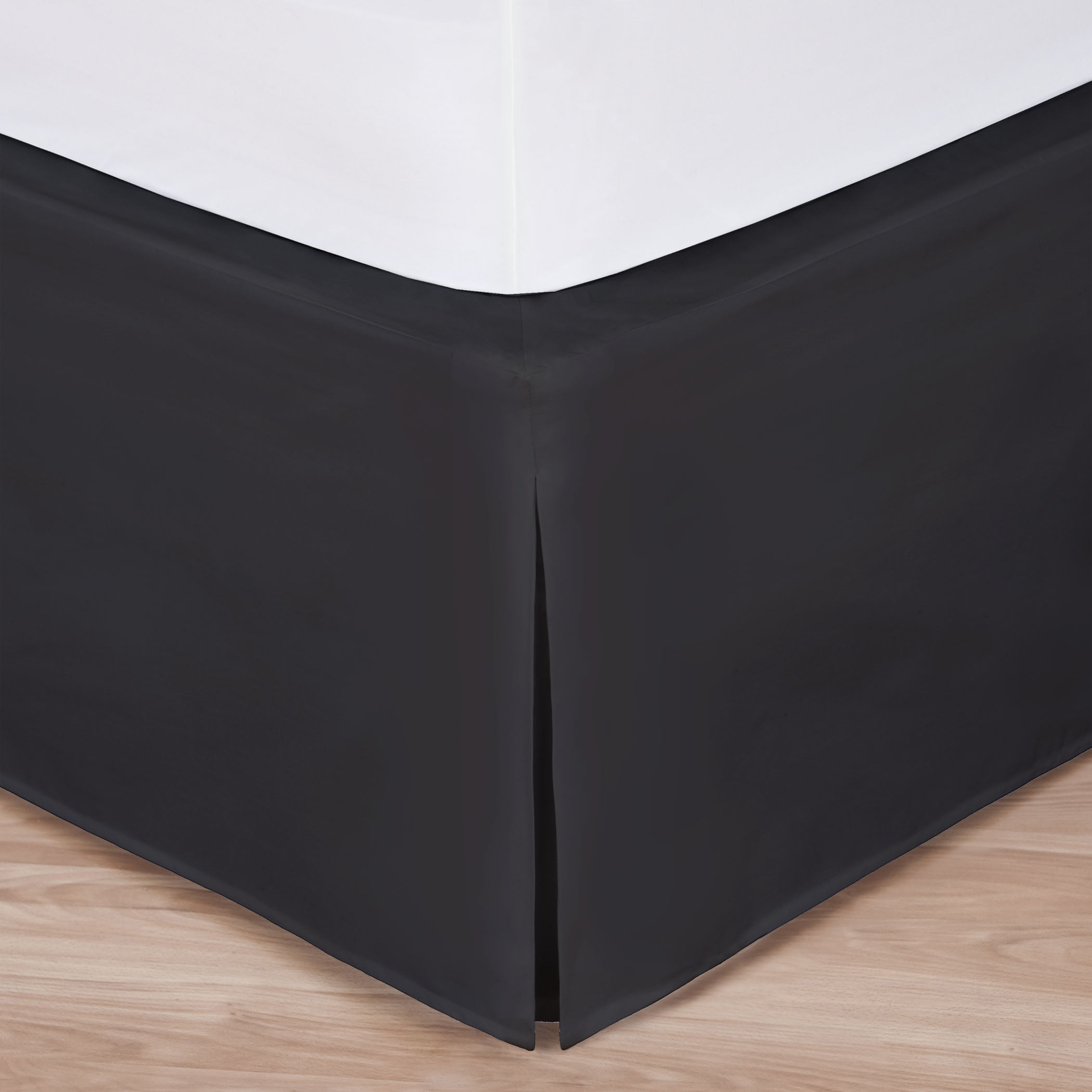 "Full Size Black Luxury Hotel Bedskirt: Tailored Pleat, 14"" Drop by"