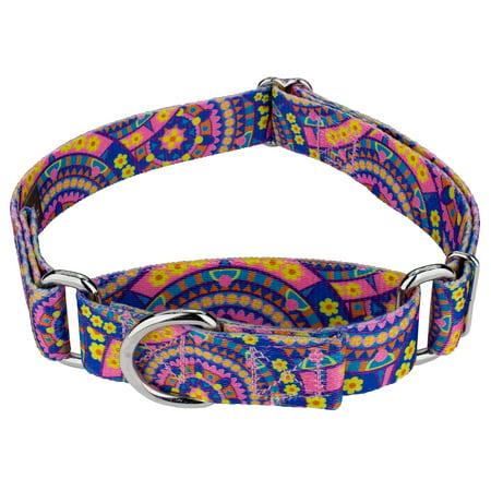 Country Brook Petz Blue Boho Mandala Martingale Dog Collar