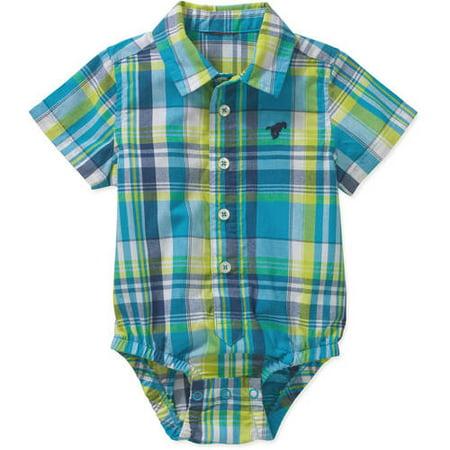 Wrangler Newborn Baby Boys' Plaid Woven Bodysuit