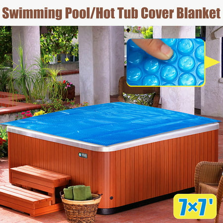 Thermal Pool - 7ft x 7ft Square Spa Hot Tub Thermal Bubble Solar Blanket Cover Heat Retention for Swimming Pools