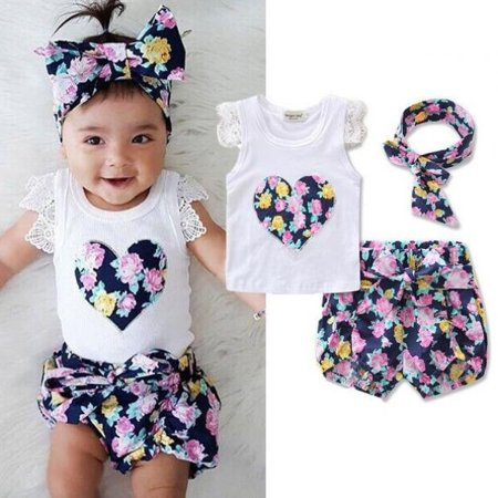 Cute Toddler Kids Clothes Newborn Baby Girls Floral Lace Vest Tank Tops + Bottom Shorts Pants+headbands Outfit 3Pcs/set