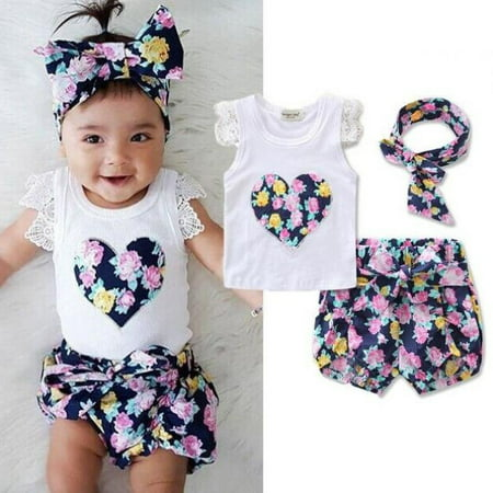 Cute Toddler Kids Clothes Newborn Baby Girls Floral Lace Vest Tank Tops + Bottom Shorts Pants+headbands Outfit 3Pcs/set - Cute Popular Girl Outfits