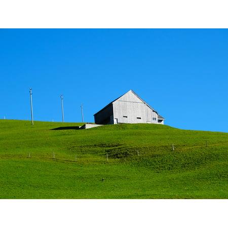 Framed Art for Your Wall Green Meadow Wood Barn Bergh?user Mountain Barn  10x13 Frame