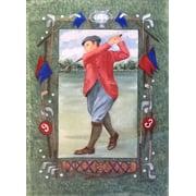 """Golf Traditional Garden Flag Bag Balls Clubs Tee Green Primitive 11"""" x 15"""""""