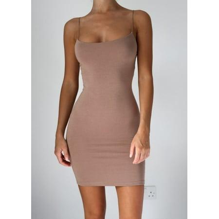 Bodycon Sleeveless Strap Full Slip Mini Dress (Full Slip Dress)