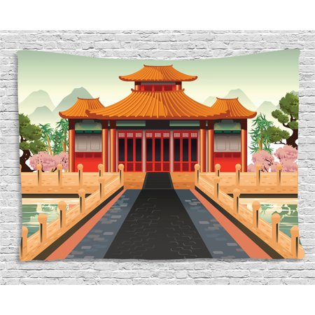 Ancient China Tapestry, Chinese Temple Illustration in Lively Colors Landscape and Pink Asian Plants, Wall Hanging for Bedroom Living Room Dorm Decor, 60W X 40L Inches, Multicolor, by - Color In Chinese