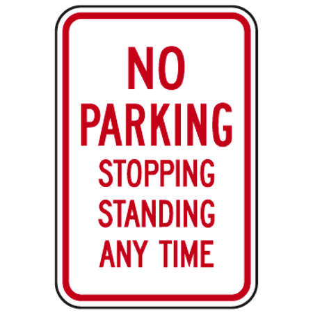 NO PARKING STOPPING STANDING ANY TIME 12