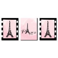 Paris, Ooh La La - Baby Girl Nursery Wall Art, Kids Room Decor & Eiffel Tower Home Decorations - 7.5 x 10 -Set of 3 Ct