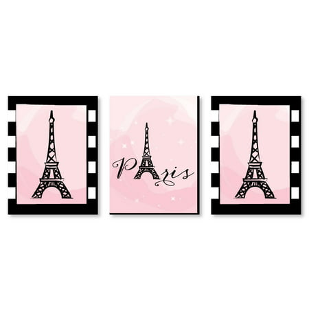 "Paris, Ooh La La - Baby Girl Nursery Wall Art, Kids Room Decor & Eiffel Tower Home Decorations - 7.5"" x 10"" -Set of 3 Ct - Eiffel Tower Party Decorations"