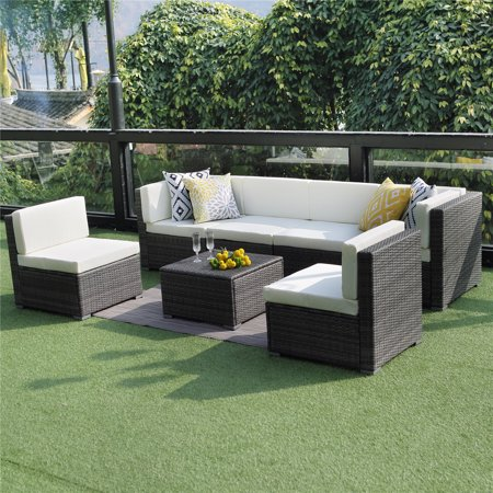 Sofa Conversation Set (Outdoor Conversation Set Patio Furniture, 7PCS Outdoor Gray Wicker Sofa Set Sectional Furniture Set by Wisteria)