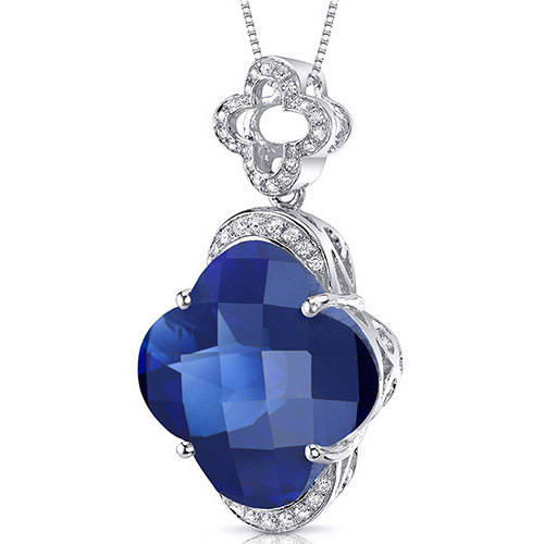 Oravo 21.00 Carat T.G.W. Lilly-Cut Created Blue Sapphire Rhodium over Sterling Silver Pendant, 18""
