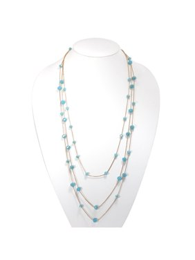 Product Image TAZZA WOMEN'S GOLD-TONE METAL TURQUPOISE CRYSATL BEADS LAYER NECKLACE