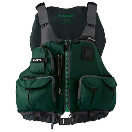 NRS Adult Chinook Fishing Boating PFD Small/ Medium Safety Life Jacket, Green ()
