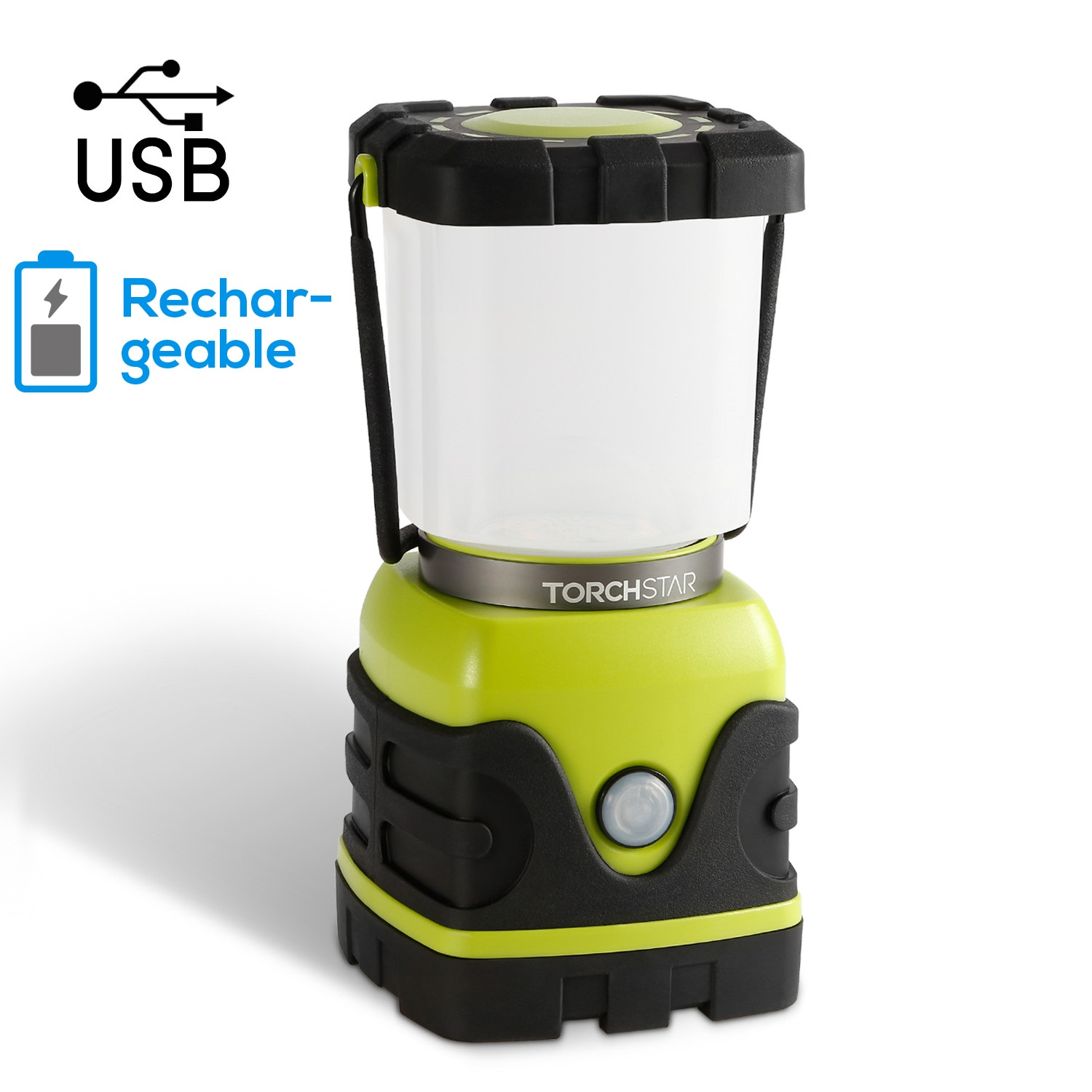 TORCHSTAR Portable LED Camping Lantern, 4-level Dimmable Emergency Light with 4400mAh Rechargeable Battery, Waterproof Hiking Fishing Outages Nightlight Survival Lamp, USB Port, Green