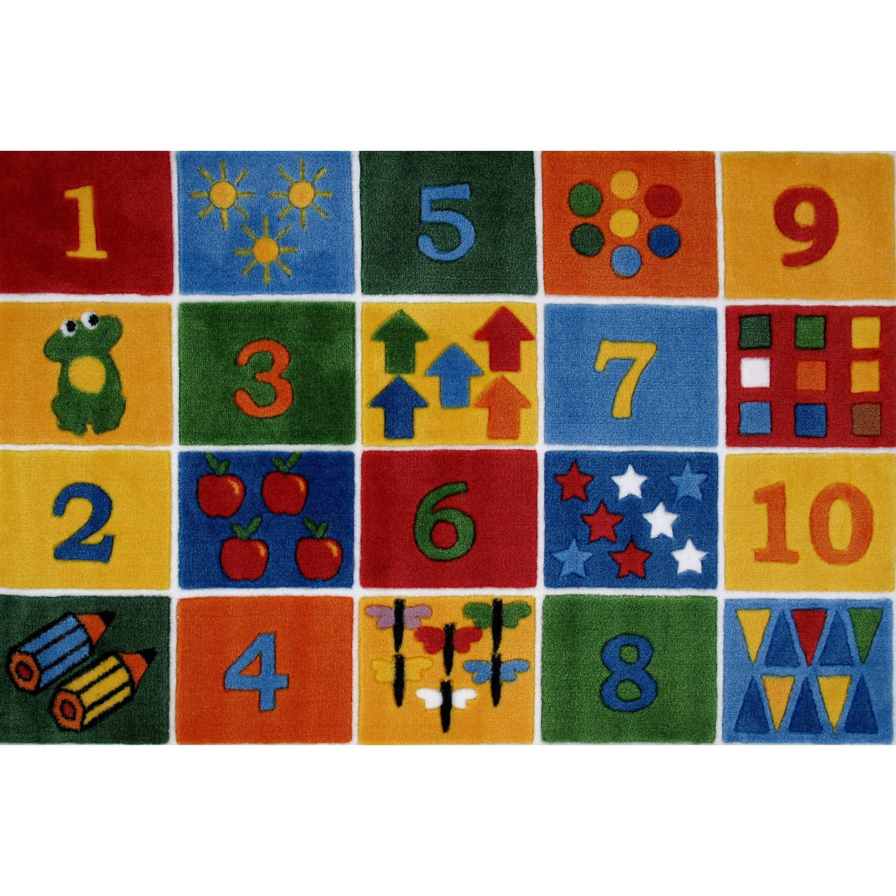 LA Rug Number Blocks Multi-colored Nylon Area Rug (3'3 x 4'8)