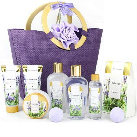Spa Body Care Set for Women, Lavender Bath Gift Basket, 10 Pcs