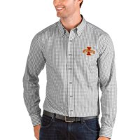 Iowa State Cyclones Antigua Structure Woven Button-Up Long Sleeve Shirt - Gray