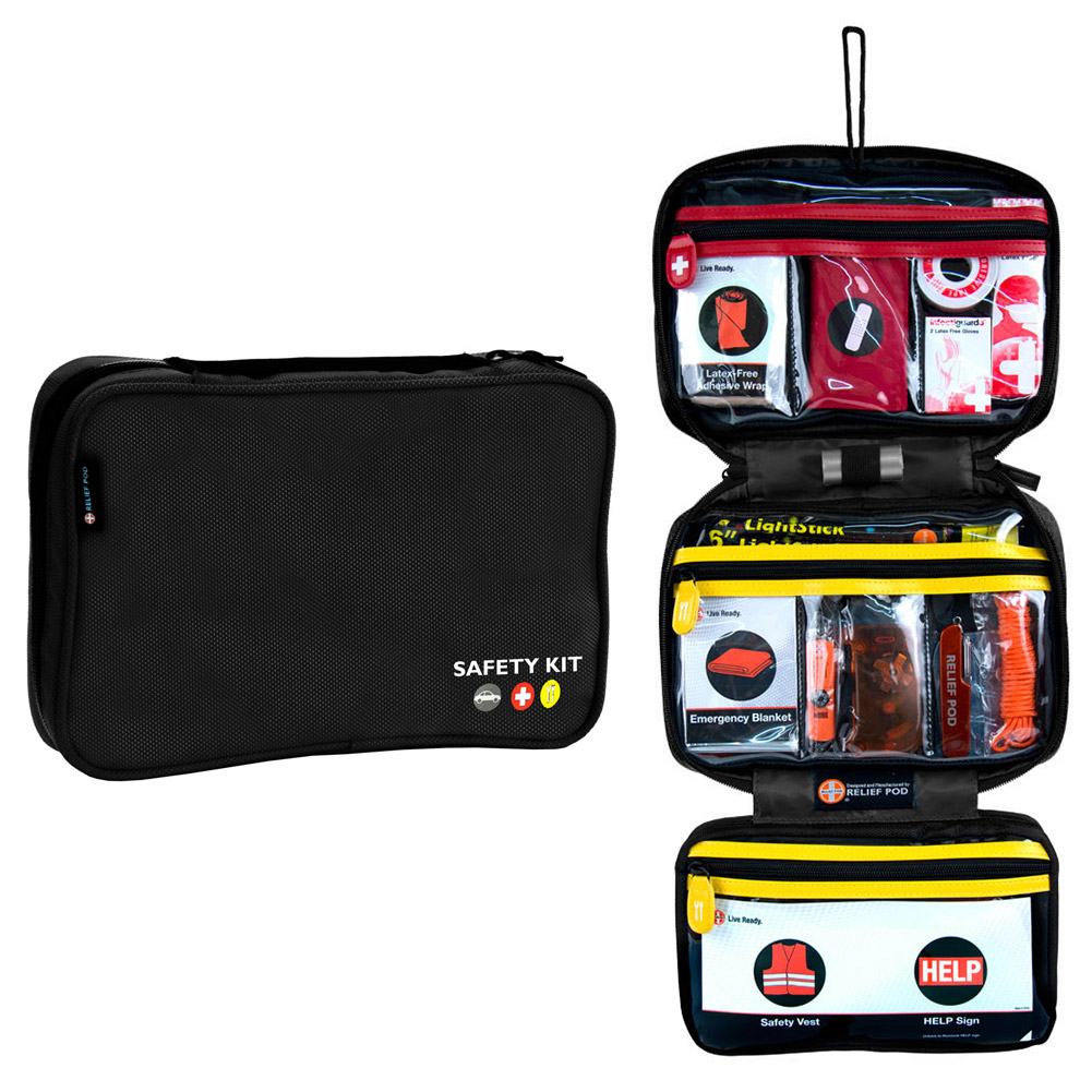 Roadside Emergency Kits, Pro 56 Items Assistance Roadside Safety Kit, Black