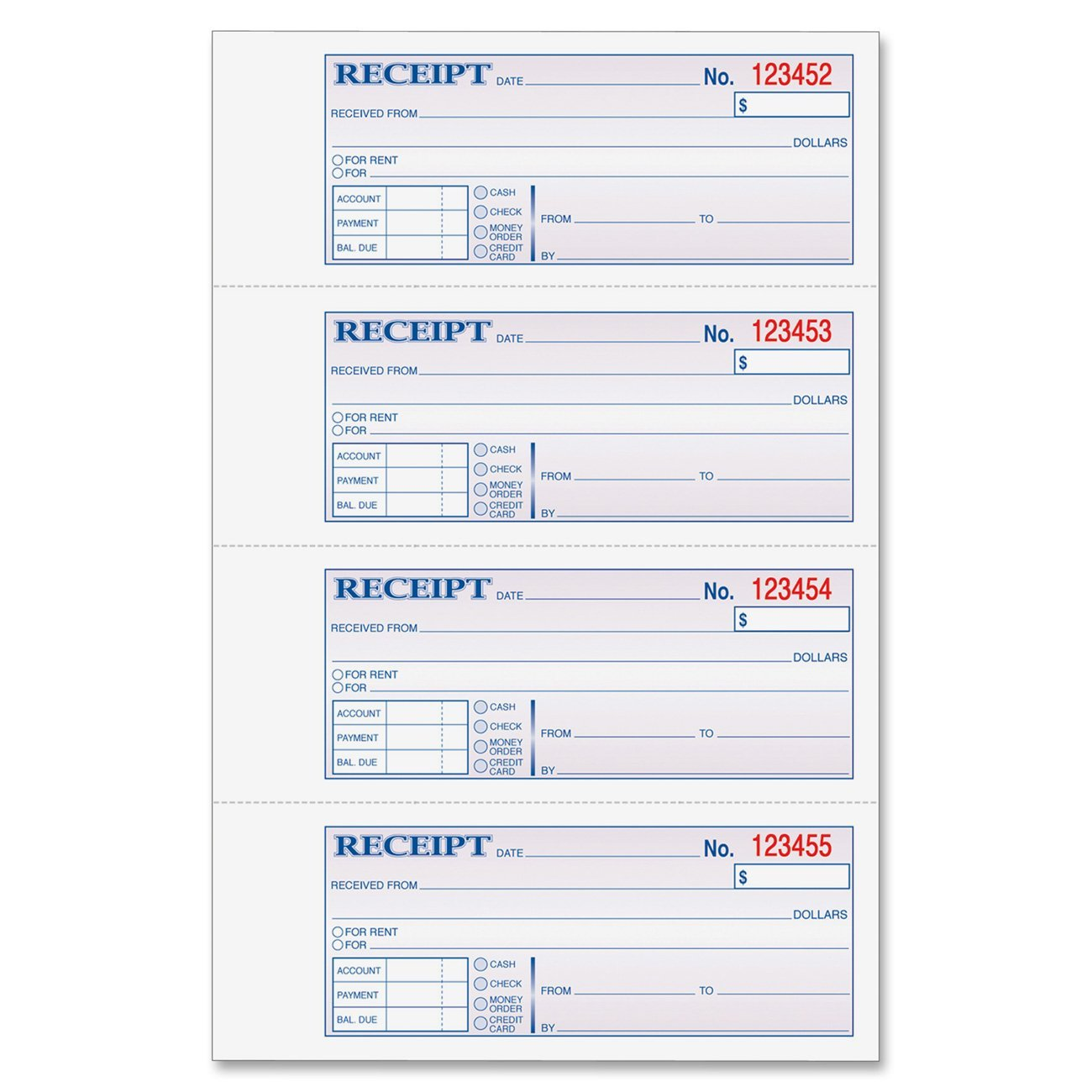 money and rent receipt 7 63 x 11 inches 2 parts carbonless 4 per