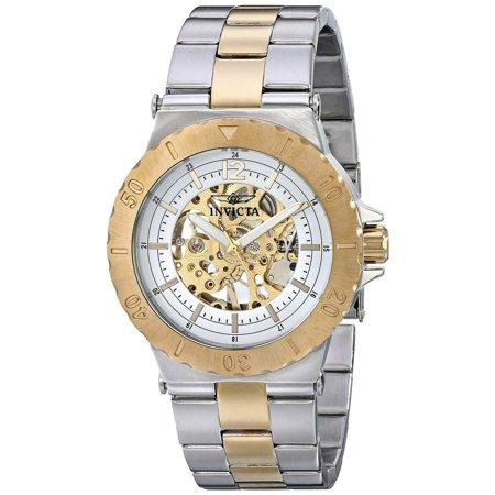 Gold Tone Mechanical Skeleton (17242 Men's Specialty Mechanical Silver Gold Skeleton Dial Two Tone Bracelet Watch )