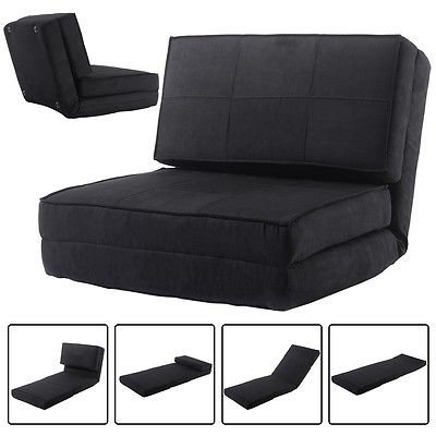 Fold Down Chair Flip Out Lounger Convertible Sleeper Bed Couch Game Dorm Black ()