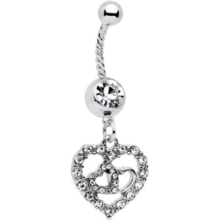 Navel Twist (Body Candy 14G Womens 316L Steel Navel Ring Piercing Valentine Heart Twisted Dangle Belly Button Ring 7/16