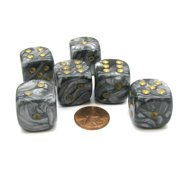 Chessex Leaf 20mm Big D6 Dice, 6 Pieces - Steel with Gold Pips #DL2050
