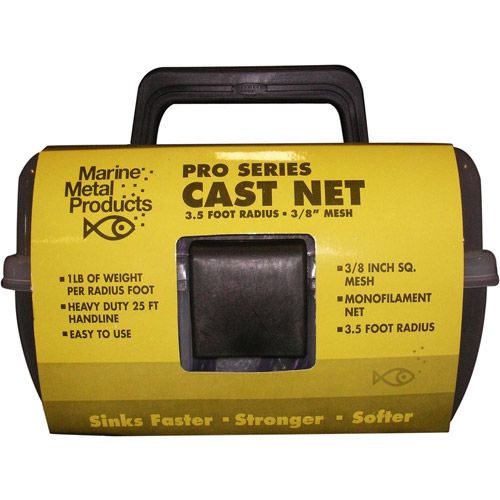 "Marine Metal Monofilament Cast Net with 3/8"" Mesh"