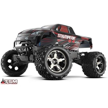 Traxxas Stampede (Traxxas T1X-670864BLK Stampede VXL 4 x 4 in. Brushless Monster Truck 1-10 Scale TQi Radio )