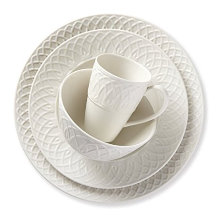Lenox 866317 British Colonial Carved Dinnerware White 4 Piece Place Setting