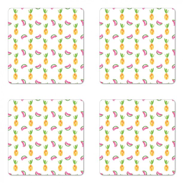 Pineapple Coaster Set Of 4 Pineapple And Watermelon Fruit Themed Minimal Sketch Pastel Watercolor Pattern Square Hardboard Gloss Coasters Standard Size Multicolor By Ambesonne Walmart Com Walmart Com