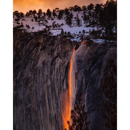 Laminated Poster Waterfalls Near Cliff At Golden Hour Poster Print 24 x