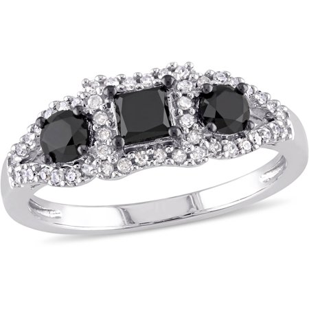 1 Carat T.W. Princess and Round-Cut Black and White Diamond 10kt White Gold Three-Stone Engagement Ring