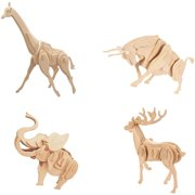 Smithsonian 4-Pack 3D Wooden Wild Animal Puzzle