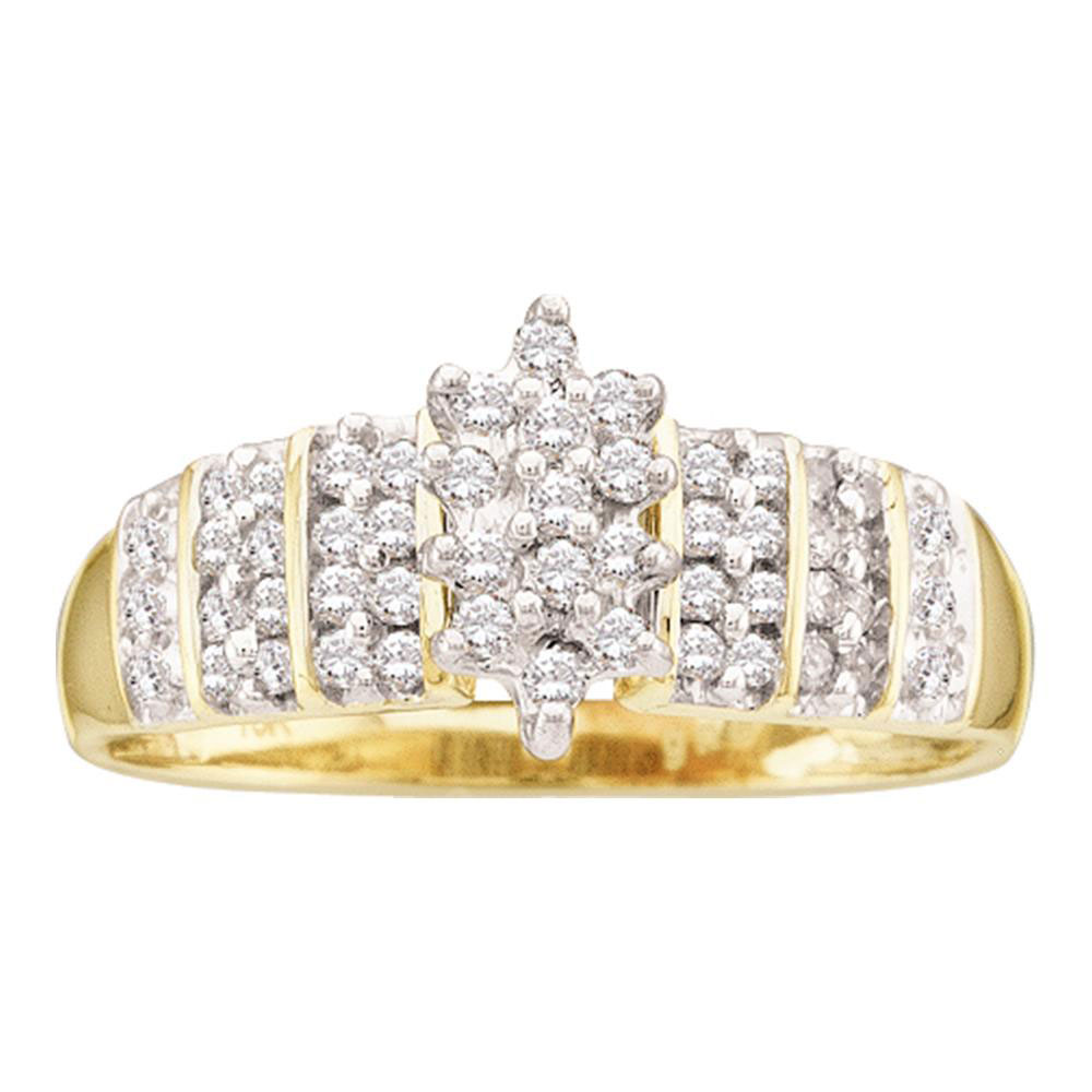 14kt Yellow Gold Womens Round Prong-set Diamond Oval Cluster Ring 1/4 Cttw