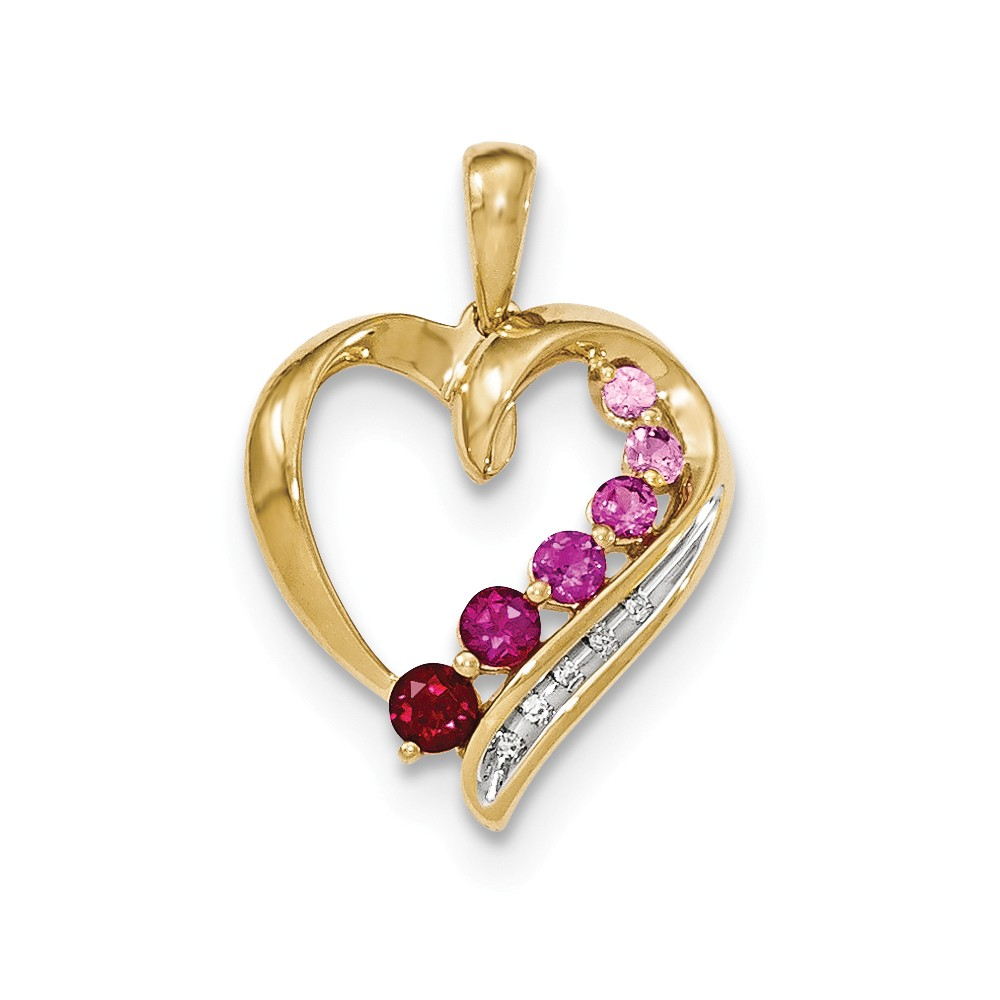 14k Yellow Gold Lab Created Pink Sapphire Lab Created Ruby Diamond Heart Pendant by Diamond2Deal