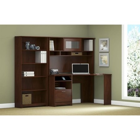 Pemberly Row Corner Desk with Hutch and 5 Shelf Bookcase in Cherry - image 8 de 10