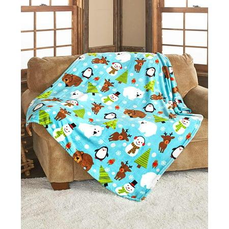 Cozy Holiday Afghan Throw - Plush Blanket with Christmas Tree, Snowman Throw Blanket Rug Afghan