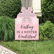 Pink Winter Wonderland - Party Decorations - Holiday Snowflake Birthday Party or Baby Shower Welcome Yard Sign