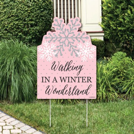 Pink Winter Wonderland - Party Decorations - Holiday Snowflake Birthday Party or Baby Shower Welcome Yard Sign (Winter Onederland Birthday Decorations)